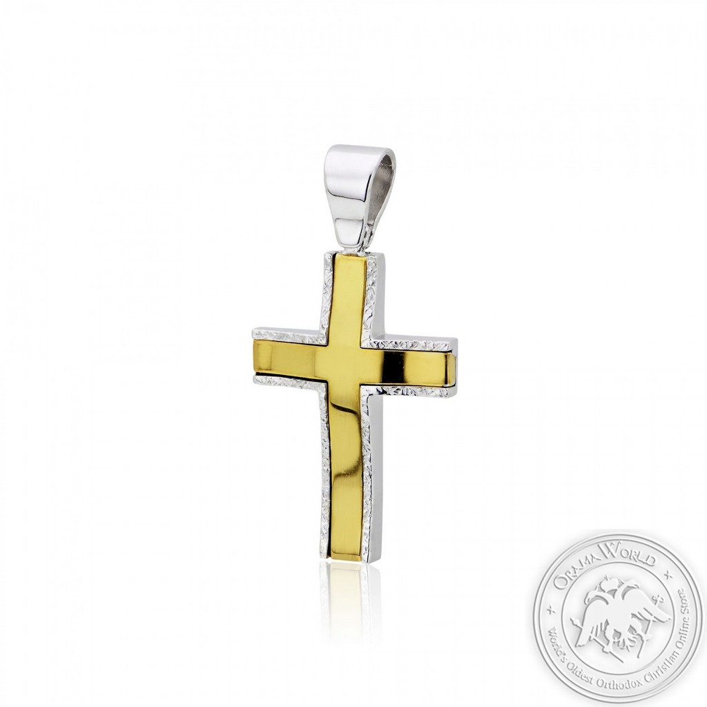 Christening Cross for Boys made of White and Yellow Gold-Plated Sterling Silver 925
