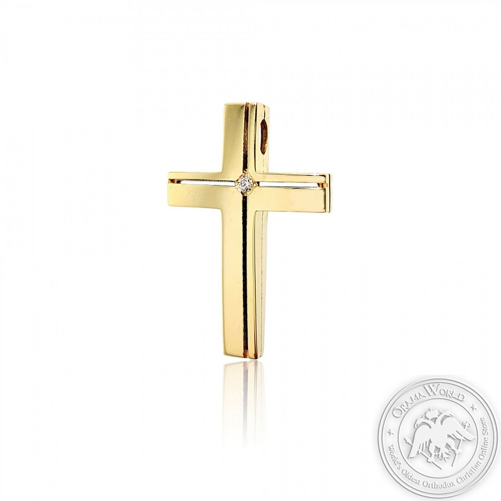 Christening Cross for Boys or Girls made of 14K Yellow Gold with Cubic Zirconia