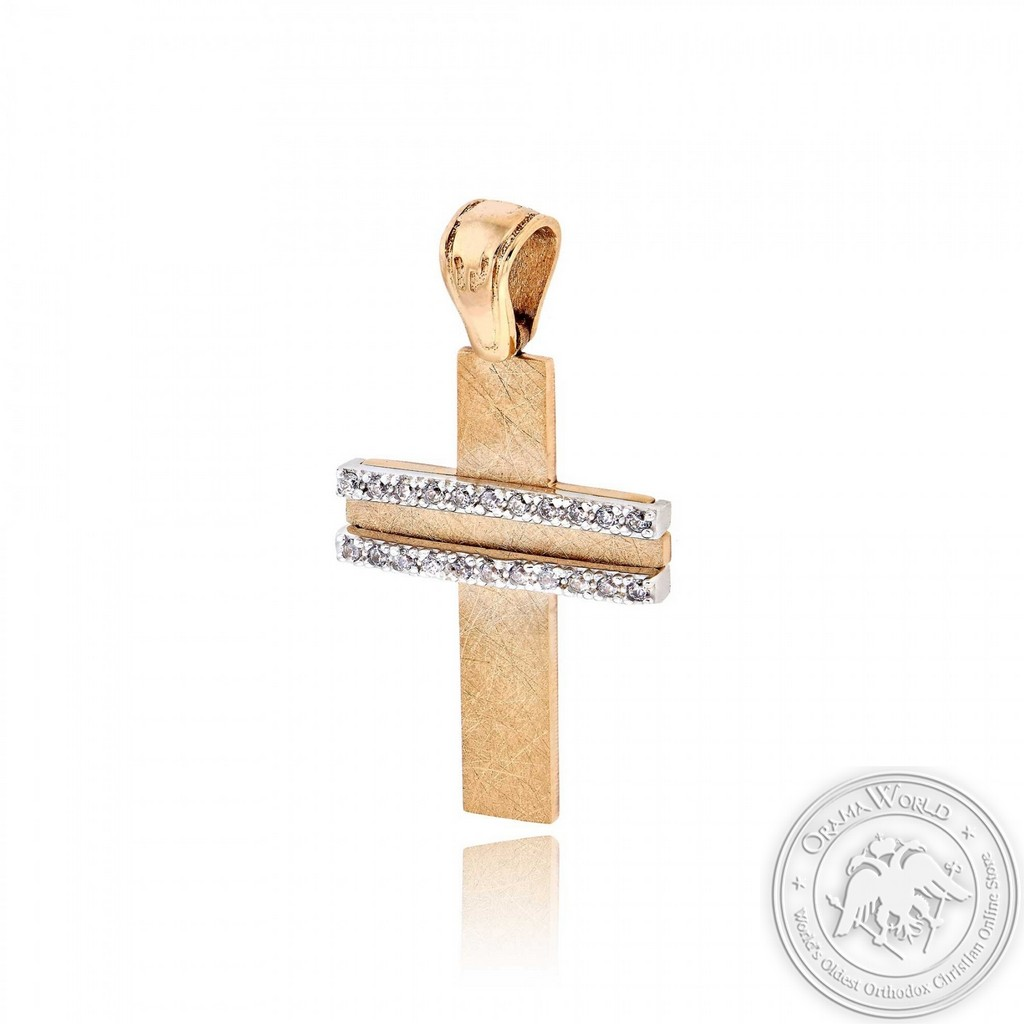 Christening Cross for Girls made of 14K Pink & White Gold with Cubic Zirconia