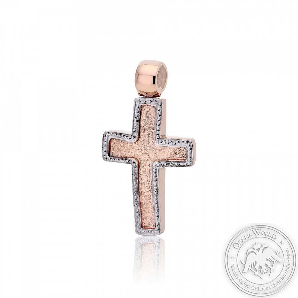 Christening Cross for Girls made of 14K Pink and White Gold