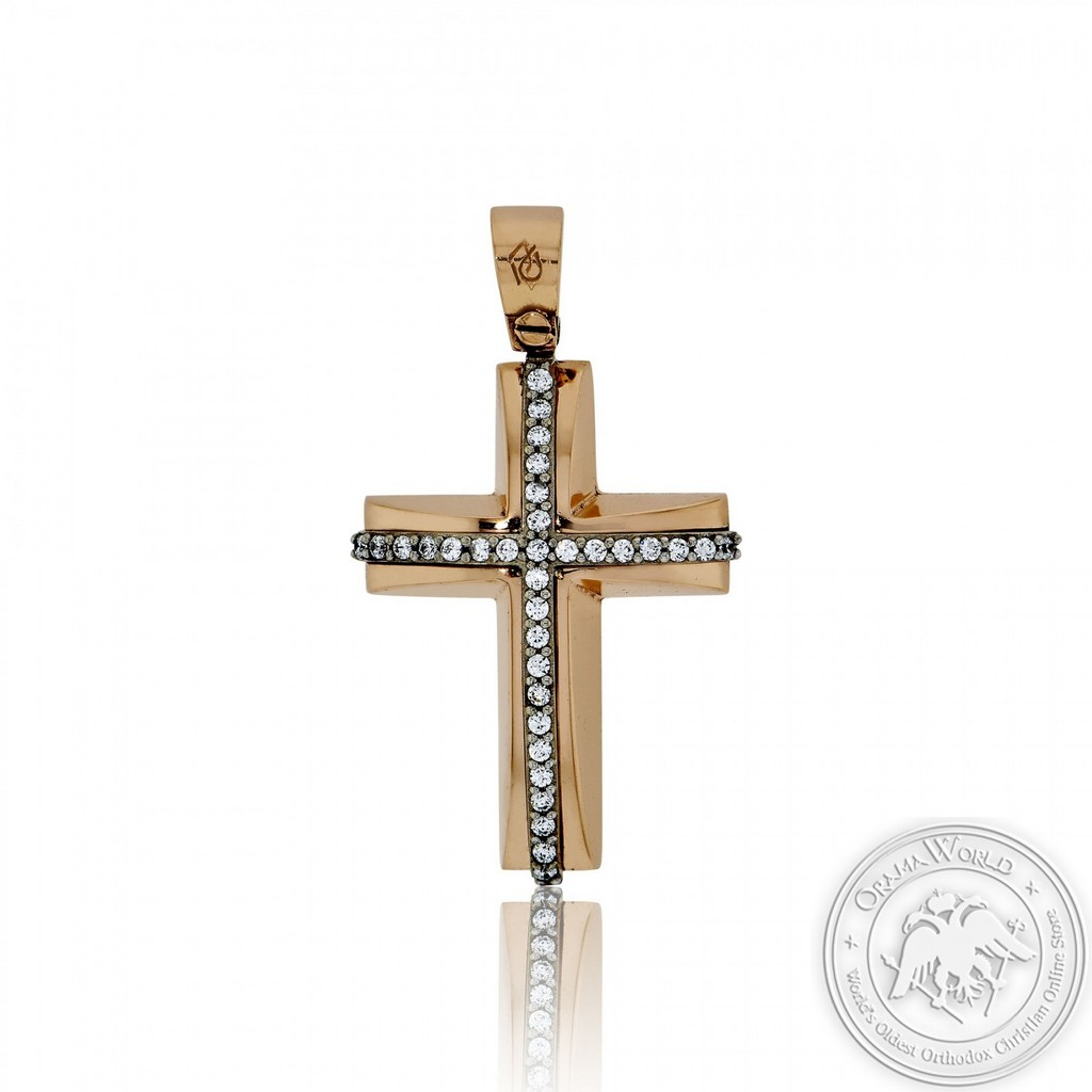 Christening Cross for Girls made of 14K Pink and White Gold with Cubic Zirconia