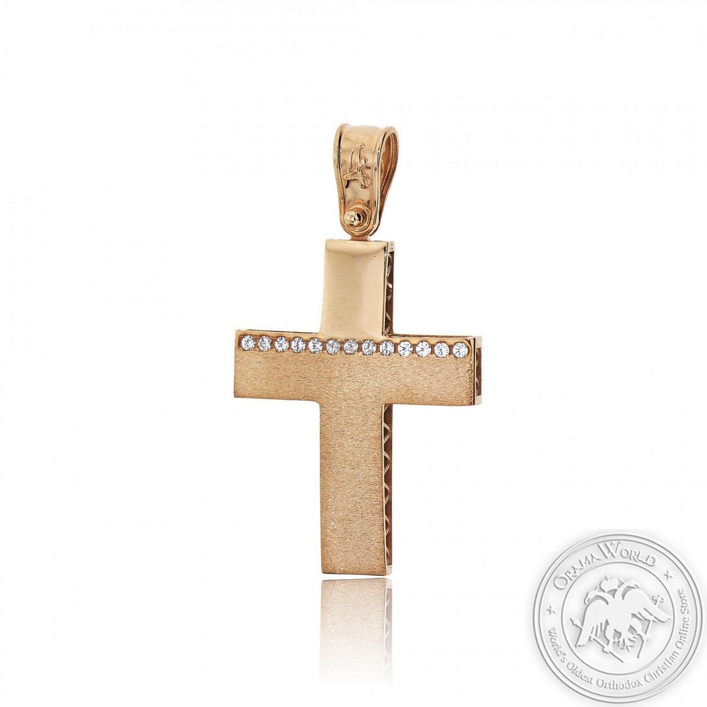 Christening Cross for Girls made of 14K Pink Gold with Cubic Zirconia
