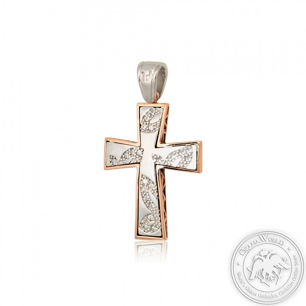 Christening Cross for Girls made of 14K White and Pink Gold with Cubic Zirconia