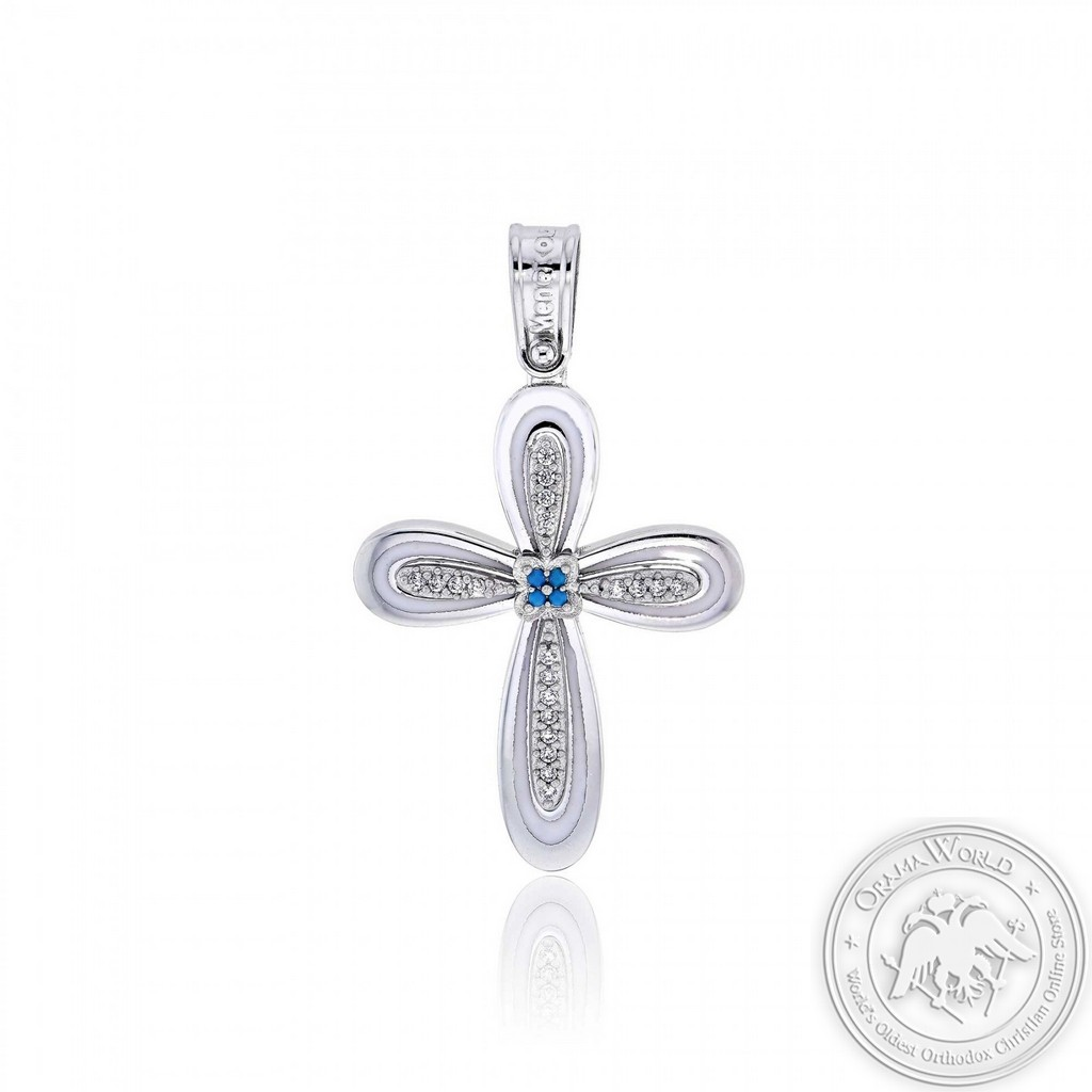 Christening Cross for Girls made of 14K White Gold with Cubic Zirconia