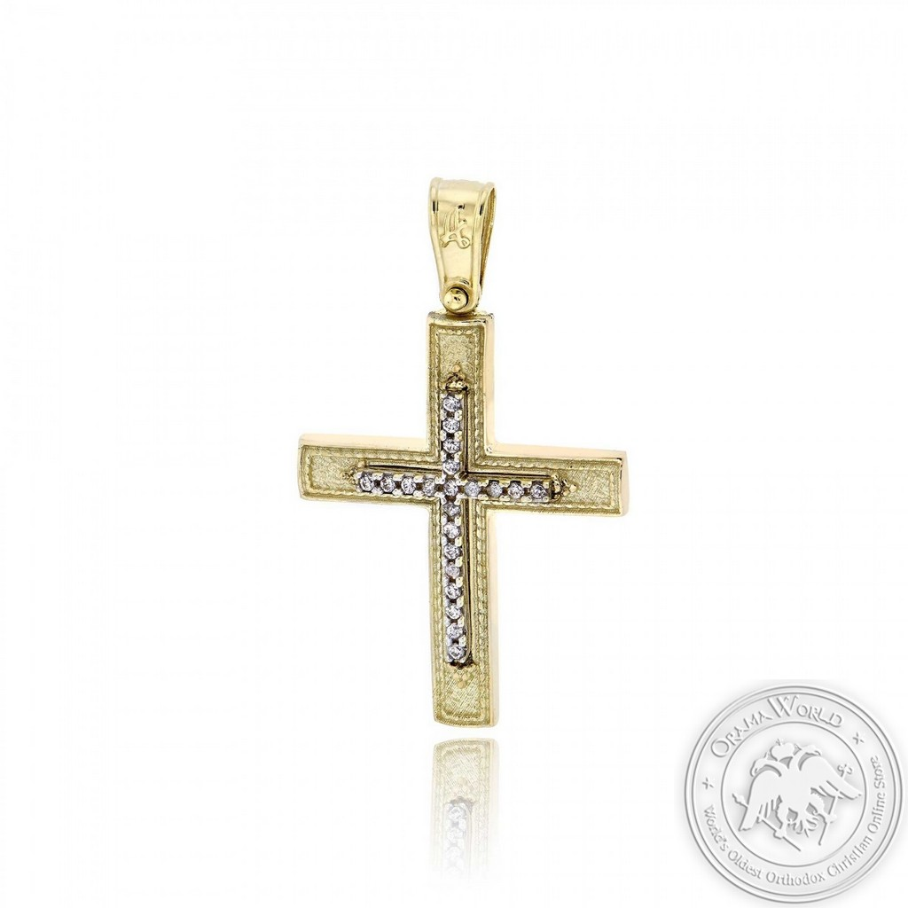 Christening Cross for Girls made of 14K Yellow & White Gold with Cubic Zirconia