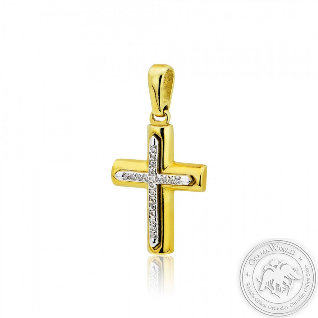 Christening Cross for Girls made of 14K Yellow and White Gold with Cubic Zirconia