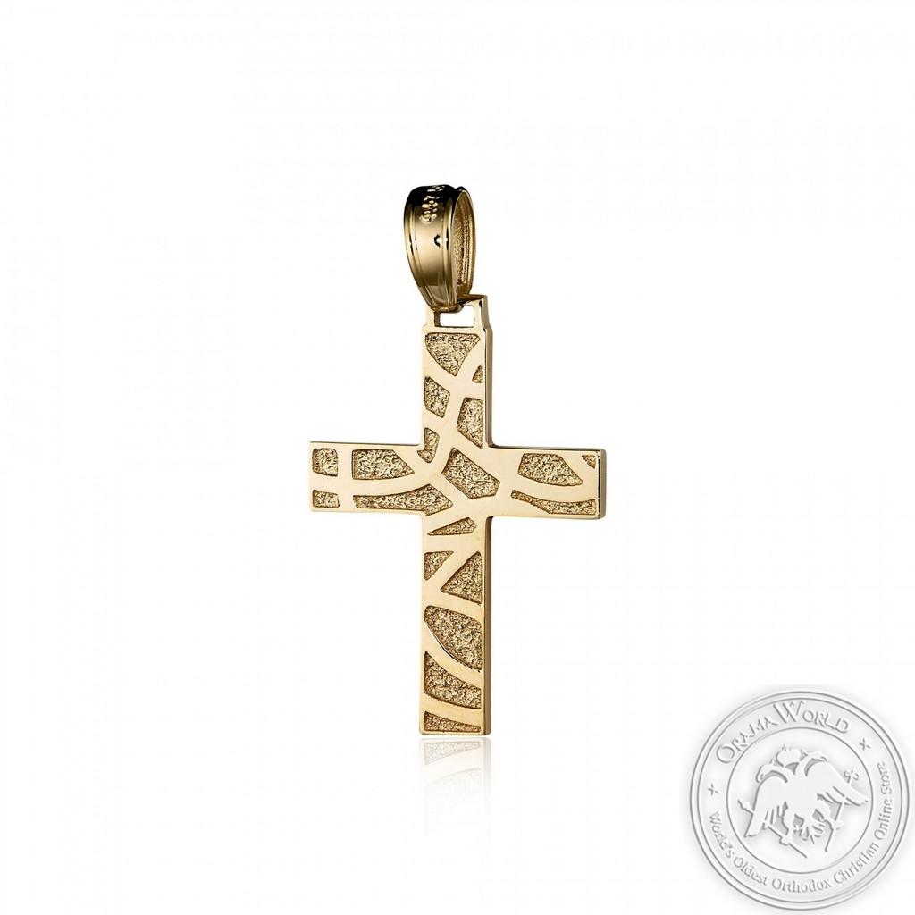 Christening Cross for Girls made of 14K Yellow Gold