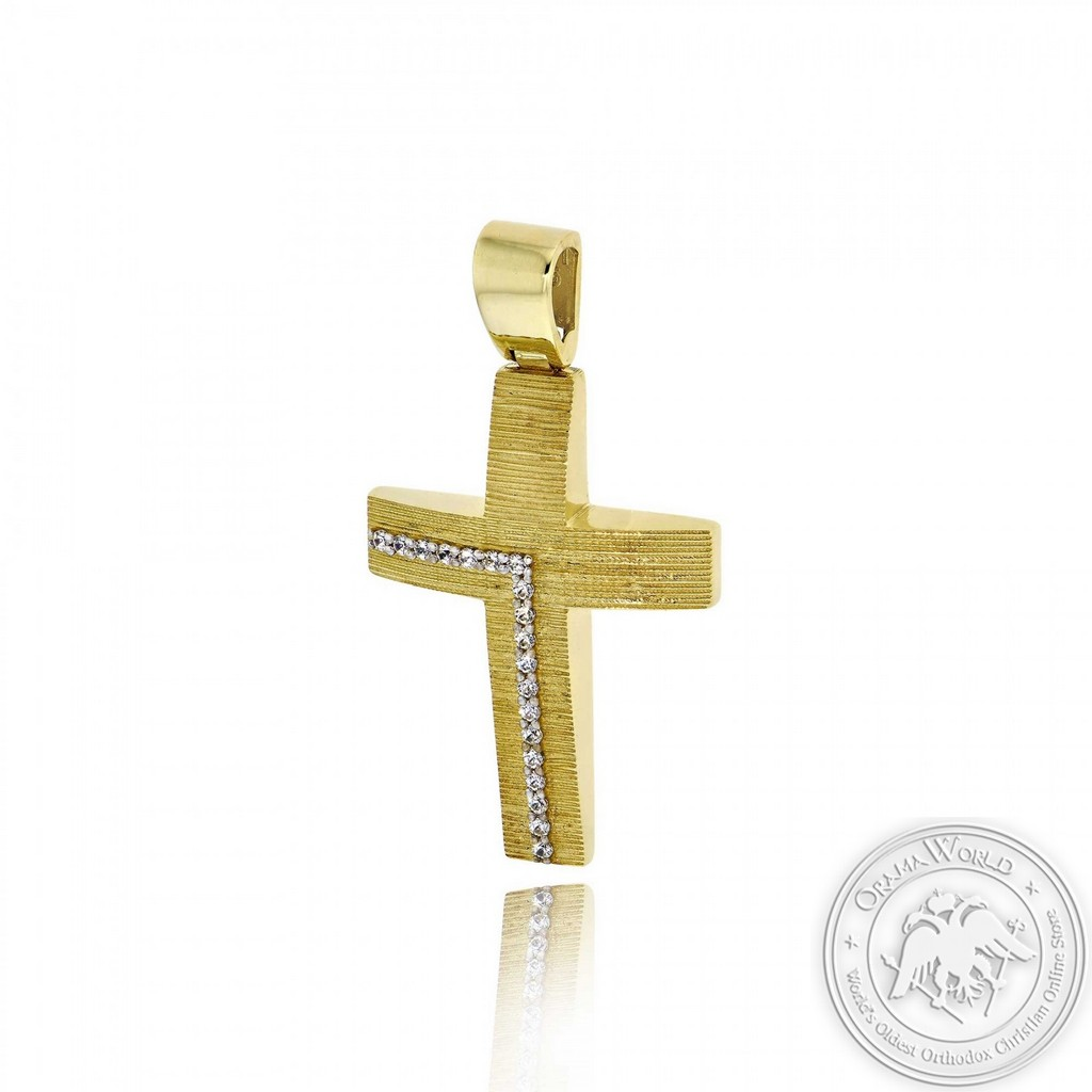 Christening Cross for Girls made of 14K Yellow Gold with Cubic Zirconia