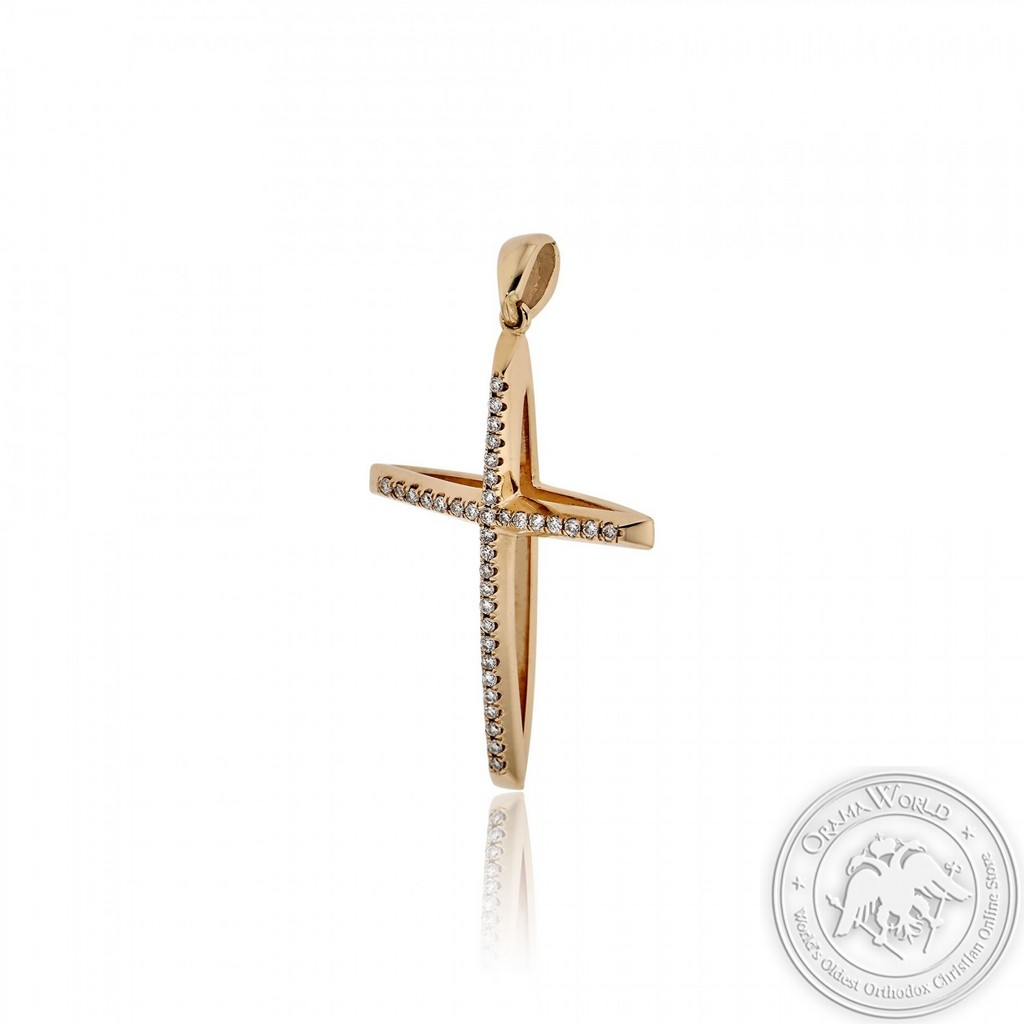 Christening Cross for Girls made of 18K Pink Gold with Diamonds