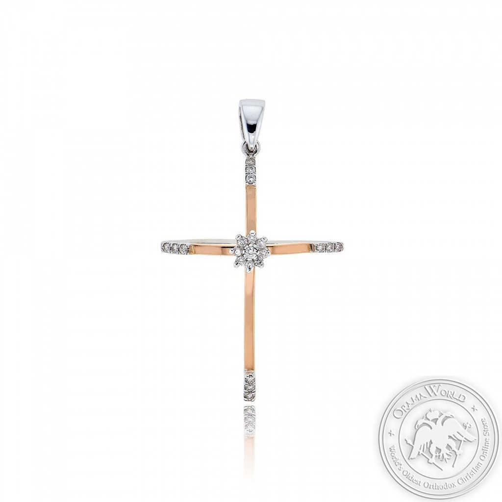 Christening Cross for Girls made of 18K White & Pink Gold with Diamonds