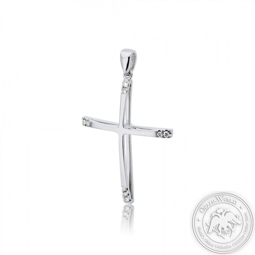 Christening Cross for Girls made of 18K White Gold with Diamonds
