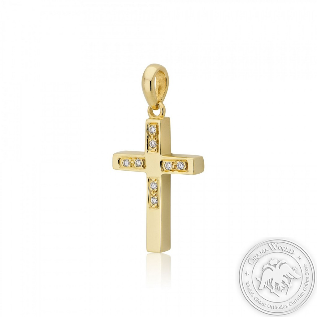 Christening Cross for Girls made of 18K Yellow Gold with Diamonds