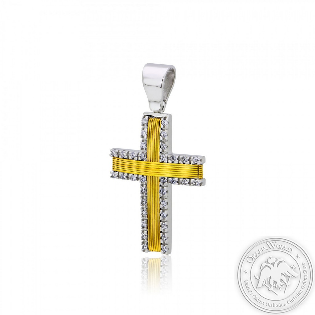 Christening Cross for Girls made of White and Yellow Gold-Plated Sterling Silver 925 with Cubic Zirc