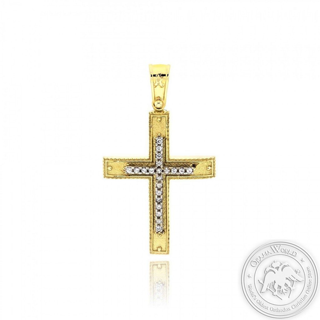 Christening Cross made of 14K Yellow and White Gold and Cubic Zirconia
