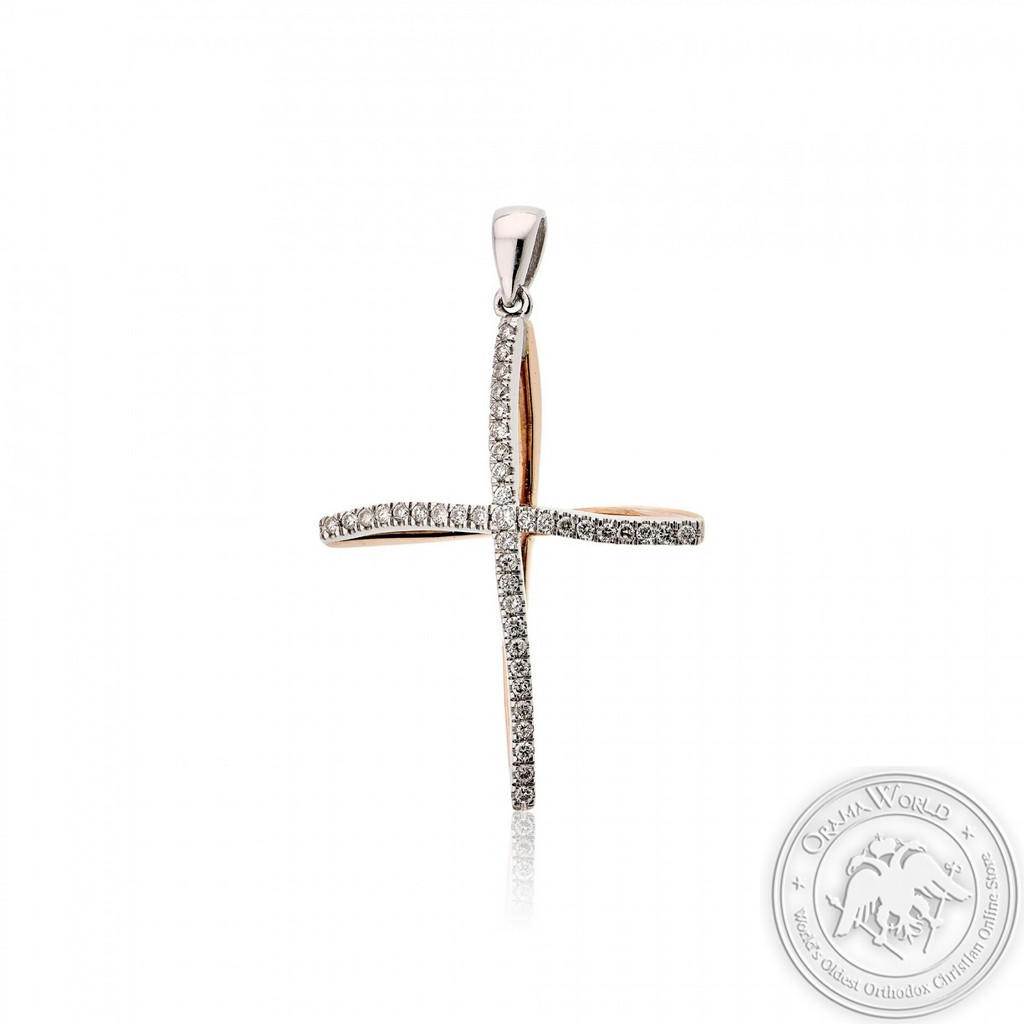 Christening Cross made of 18K White and Pink Gold with Diamonds