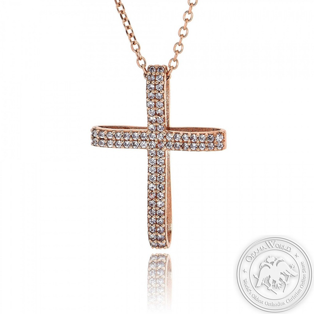Christening Cross with Chain for Girls made of 14K Pink Gold with Cubic Zirconia