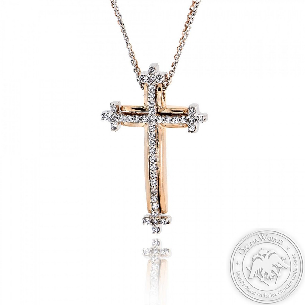 Christening Cross with Chain for Girls made of 14K White & Pink Gold