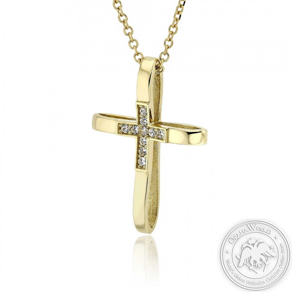 Christening Cross with Chain for Girls made of 14K Yellow Gold