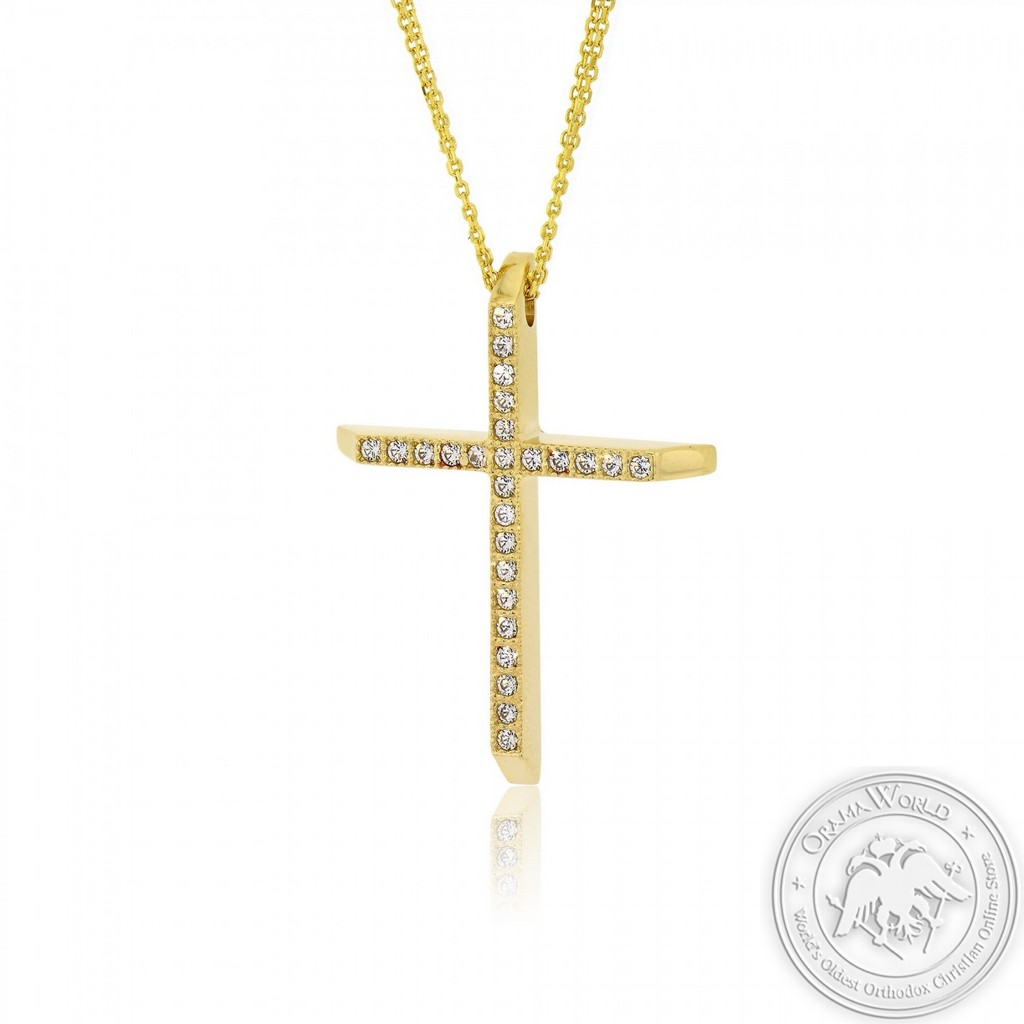 Christening Cross with Chain for Girls made of 14K Yellow Gold with Cubic Zirconia