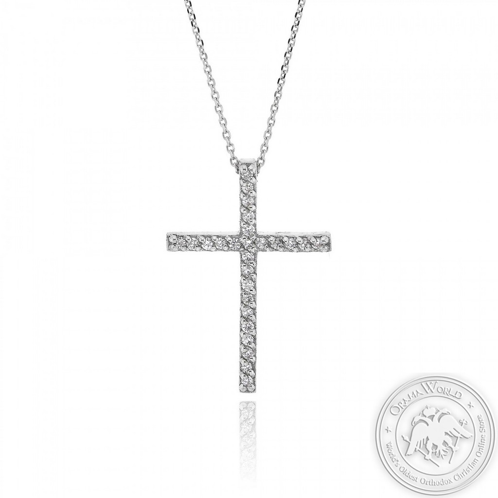 Christening Cross with Chain made of 18K White Gold with Diamonds