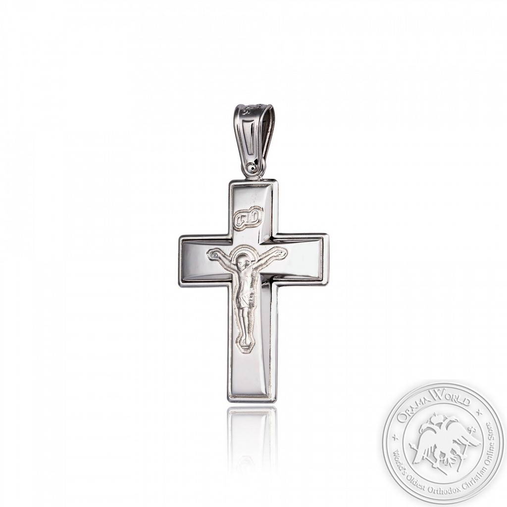 Christening Cross with White K14 Gold