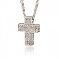 Cross for Girls made of 18K White Gold with Diamonds