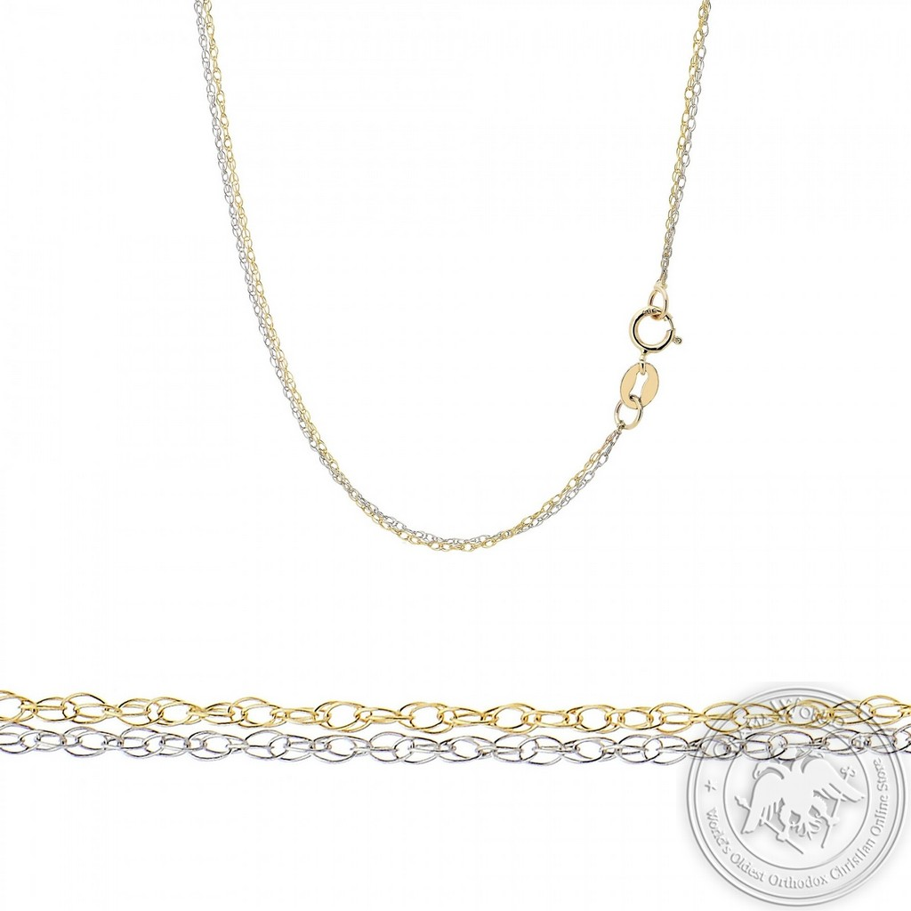 Double Chain made of 14K Yellow and White Gold