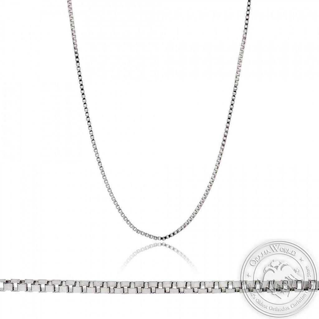 Ladies Box Chain made of 14K White Gold