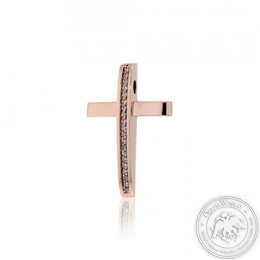 Ladies Cross made of 14K Pink Gold with Cubic Zirconia