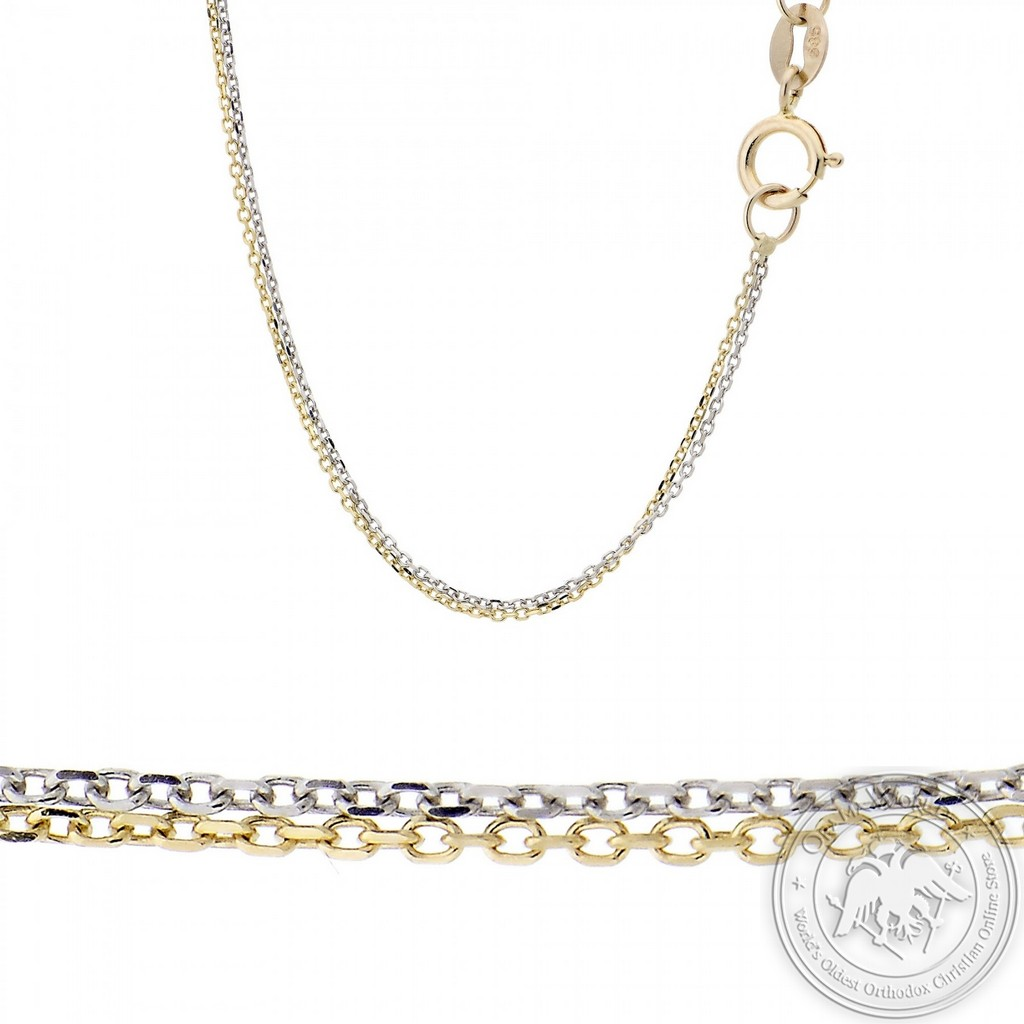 Ladies Double Chain made of 14K Yellow and White Gold