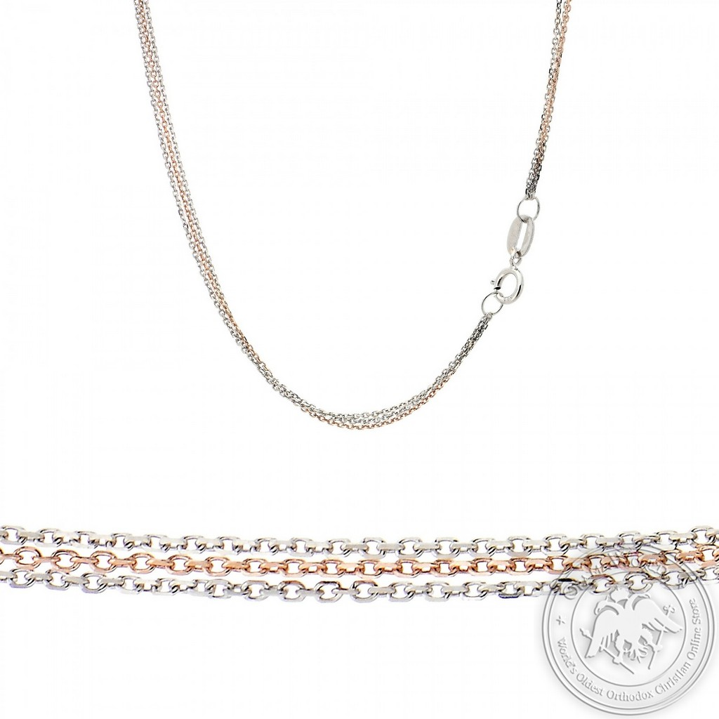 Triple Chain made of 14K White and Pink Gold