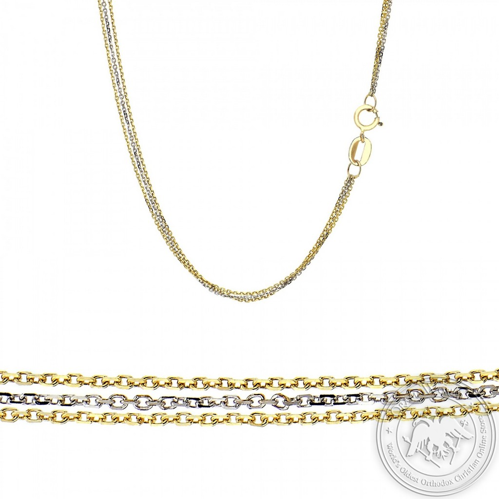 Triple Ladies Chain made of 14K Yellow and White Gold