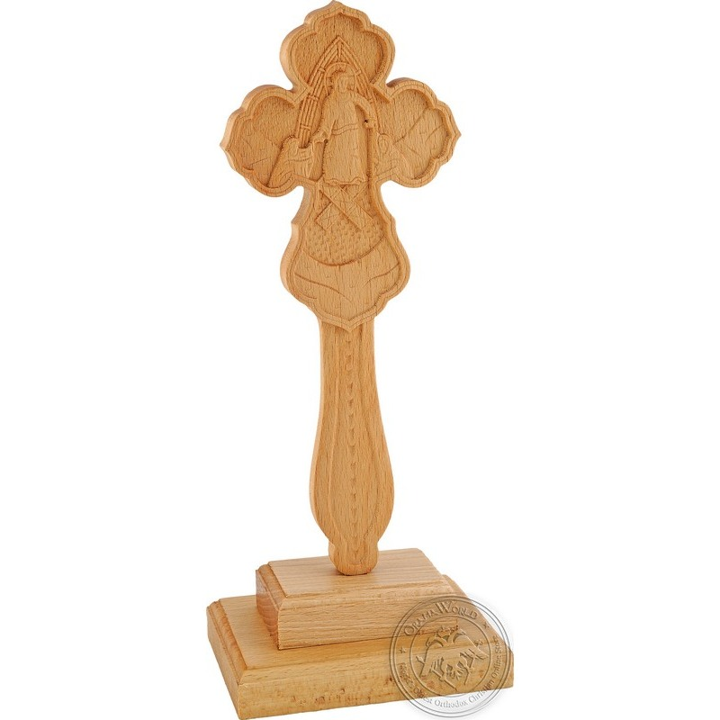 Wooden Blessing Cross with Base - 0510