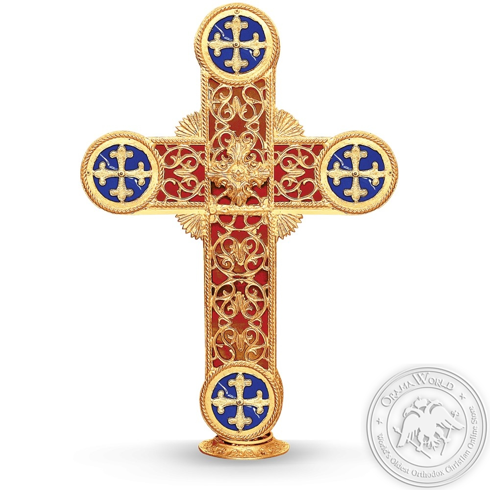 Dome Cross Aluminum Gold Plated