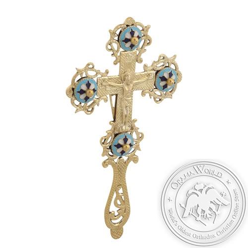 Byzantine Brass with Enamel Sanctification Cross