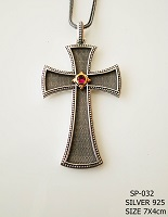 Silver Chest Cross - 032