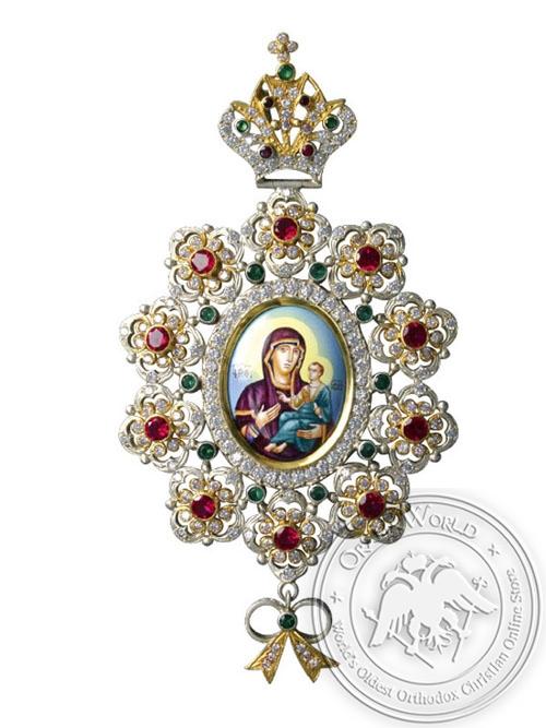 Pectoral Cross Silver & Stones (Brass Chain)