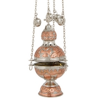 Byzantine Brass Two Color Ecclesiastical Censer