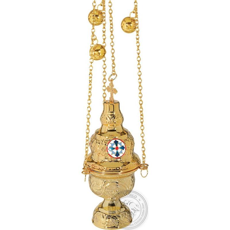 Ecclesiastical Censer Athenian Design with Enamel - 0107