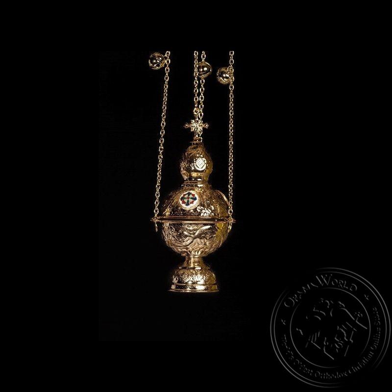 Ecclesiastical Censer Russian Design with Enamel - 1000-19