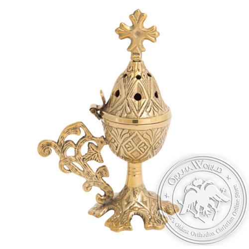 Byzantine Brass Home Censer - H25
