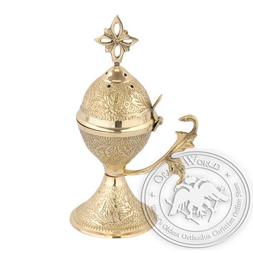 Byzantine Brass Home Censer - H50