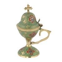 Byzantine Brass Home Censer with Enamel Coating - H79