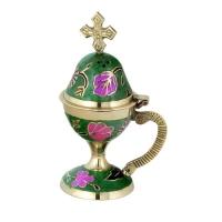 Byzantine Brass Home Censer with Enamel Coating - H72