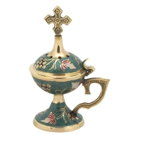 Byzantine Brass Home Censer with Enamel Coating - H68