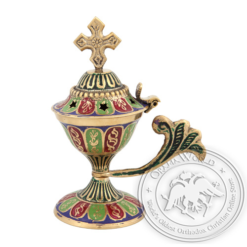 Byzantine Home Censer with Three Colour Enamel Coating - H80
