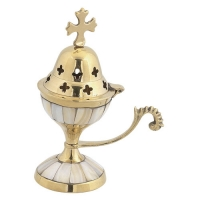 Byzantine Brass Home Censer with Ivory - H81