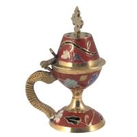 Byzantine Brass Home Censer with Enamel Coating - H63