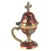 Byzantine Brass Home Censer with Enamel Coating - H70