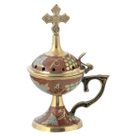 Byzantine Brass Home Censer with Enamel Coating - H67